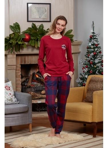 Dagi O Patlı Uzun Kollu Pijama Takımı Kırmızı